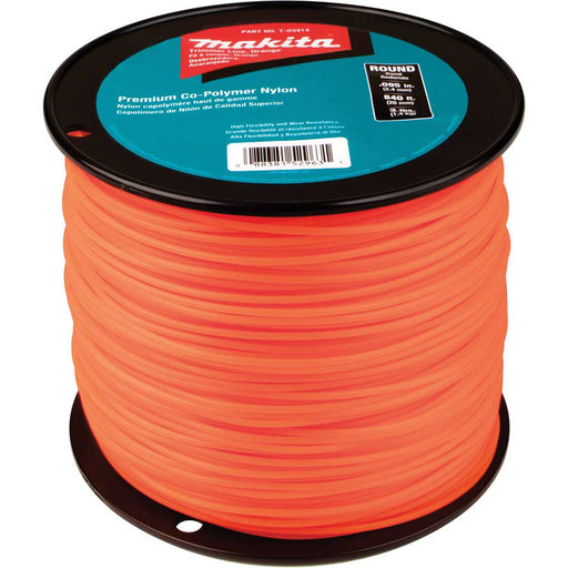 "Makita Round Trimmer Line, 0.095"", Orange, 840', 3 lbs."