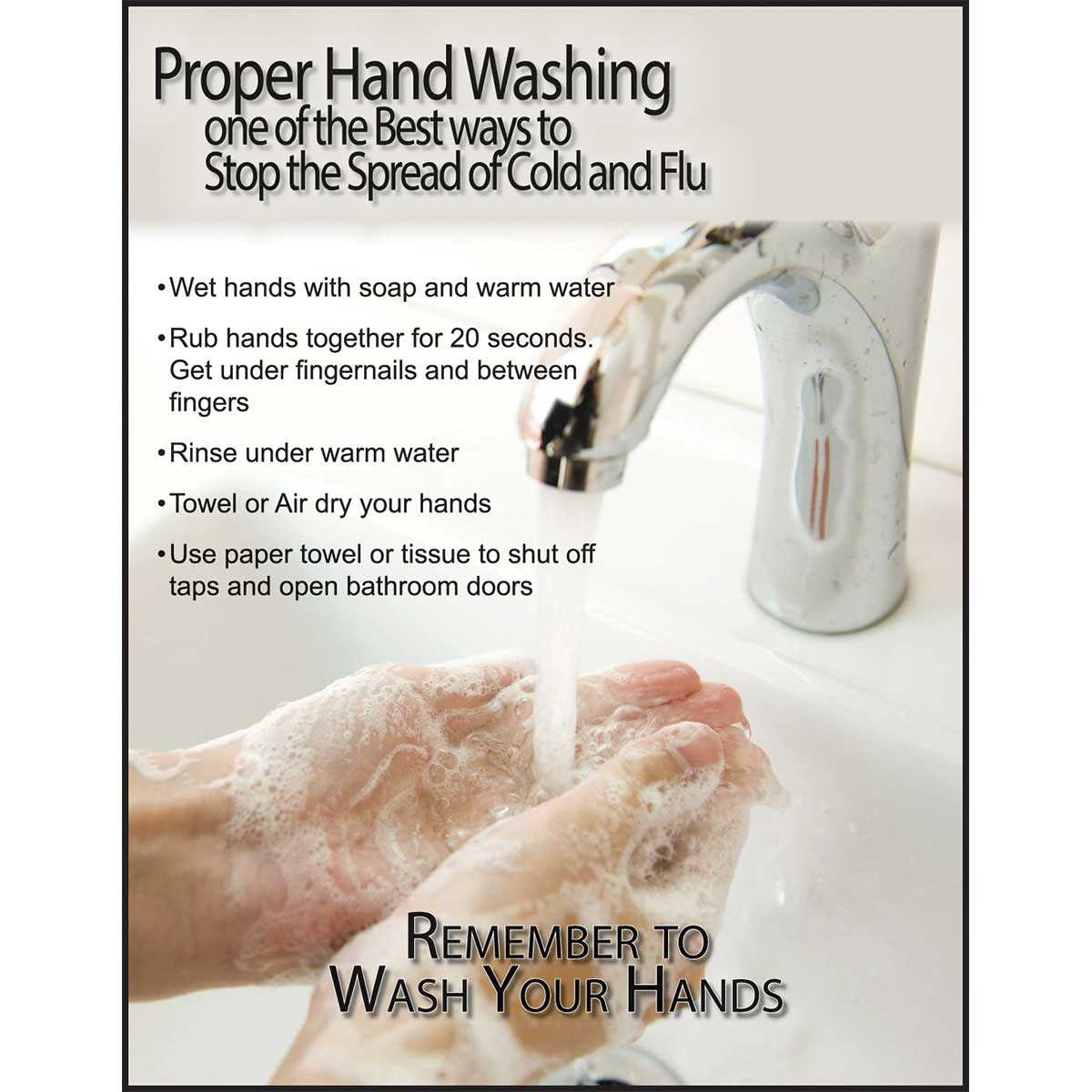 "Safety Poster: Proper Hand Washing 22"" x 17"""