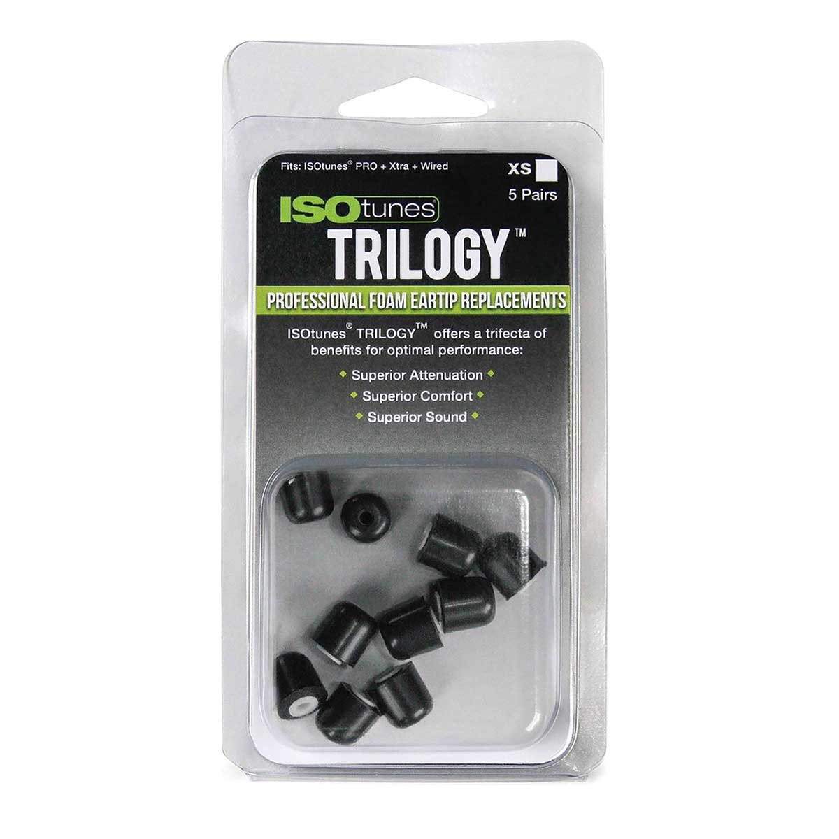 ISOtunes Trilogy™ Foam Replacment Tips, Pk 5 Pair