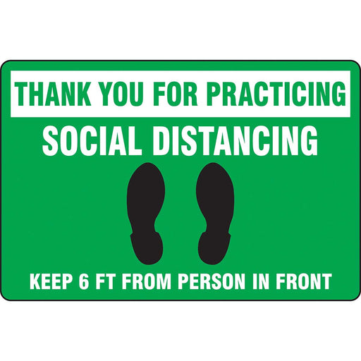 "Slip-Gard™ Floor Sign: Thank You For Practicing Social Distancing - 12"" x 18"""