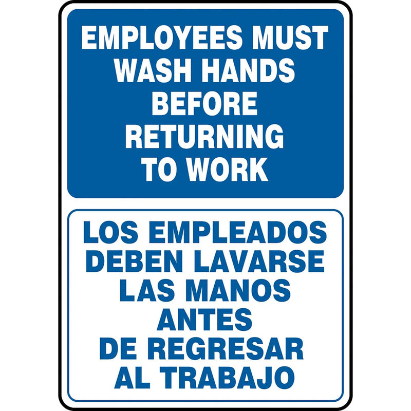 "Bilingual Safety Sign: Employees Must Wash Hands Before Returning To Work 14"" x 10"""