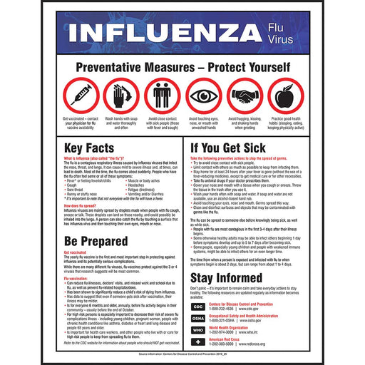 "Safety Poster: Influenza Flu Virus 22"" x 17"""