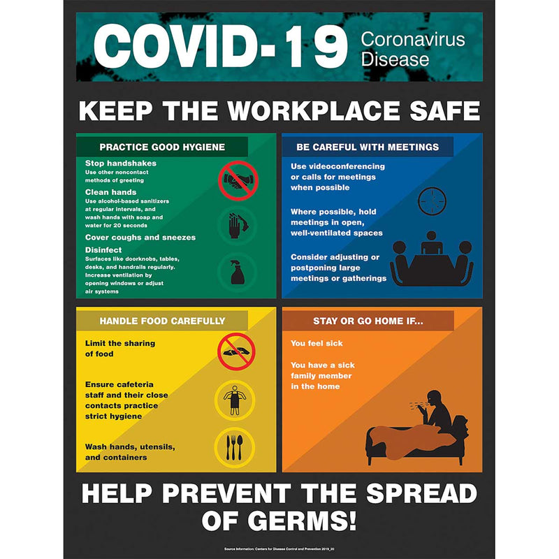 "Safety Poster: COVID-19 Keep the workplace safe 22"" x 17"""