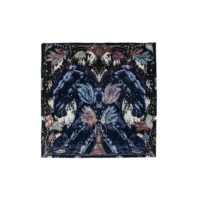 Wild Horses designer rug depicting two mirrored blue horses