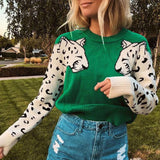 Leopard Pattern Long Sleeve Sweater