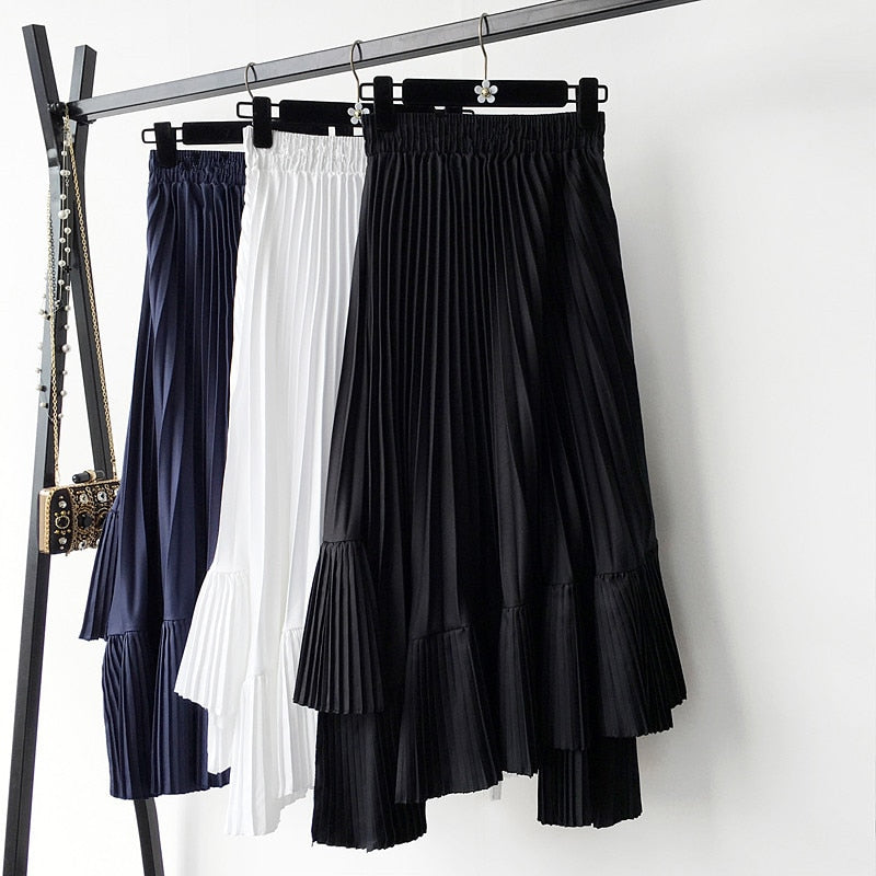 Pleated Chiffon Frill Midi Skirt