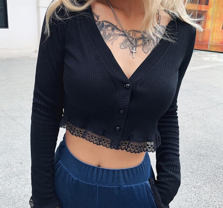 Lace Cropped Cardigan
