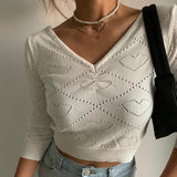 Ribbed Heart Pattern Sweater