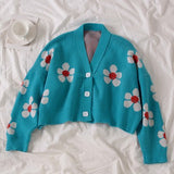 Flower Print Knitted Crop Cardigan