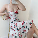 White Cow Neck Floral Print Dress