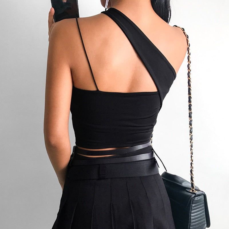 One shoulder Black Cami Tank top