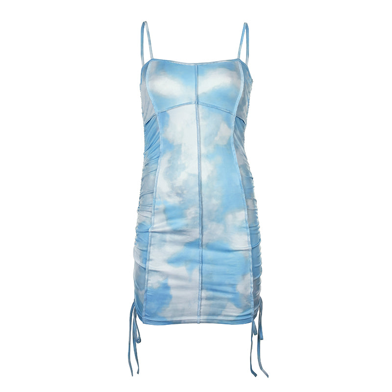Tie Dye Strap Ruched Bodycon Dress