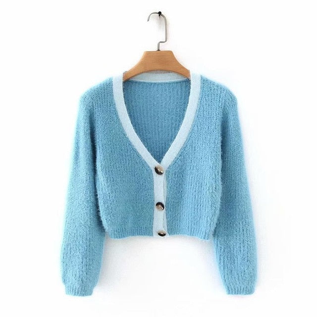 Contrast Cropped Knit Cardigan