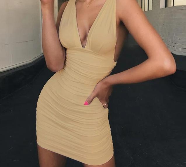 Deep Neck Bodycon Dress