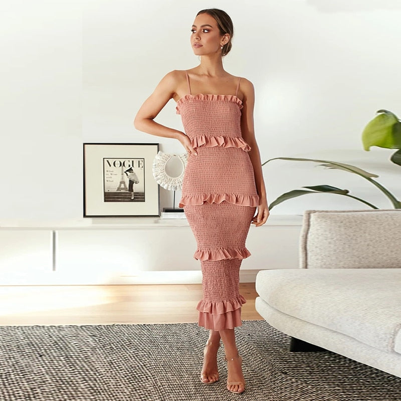 Ruched Frill Long Dress