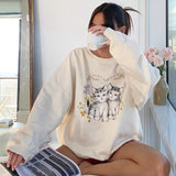 Kitten Print Cute Oversized Sweatshirt