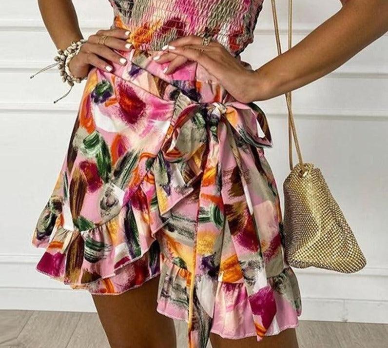 One Shoulder Ruched Top And Wrap Skirt Two Piece