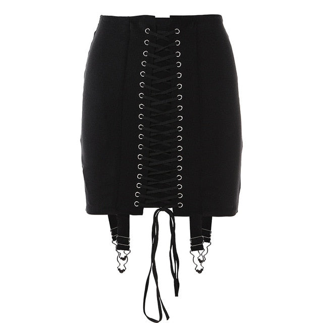 Lace Tie Up Bodycon Skirt