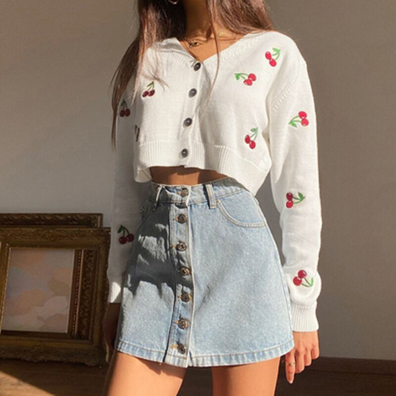Cherry Print Knit Cropped Cardigan