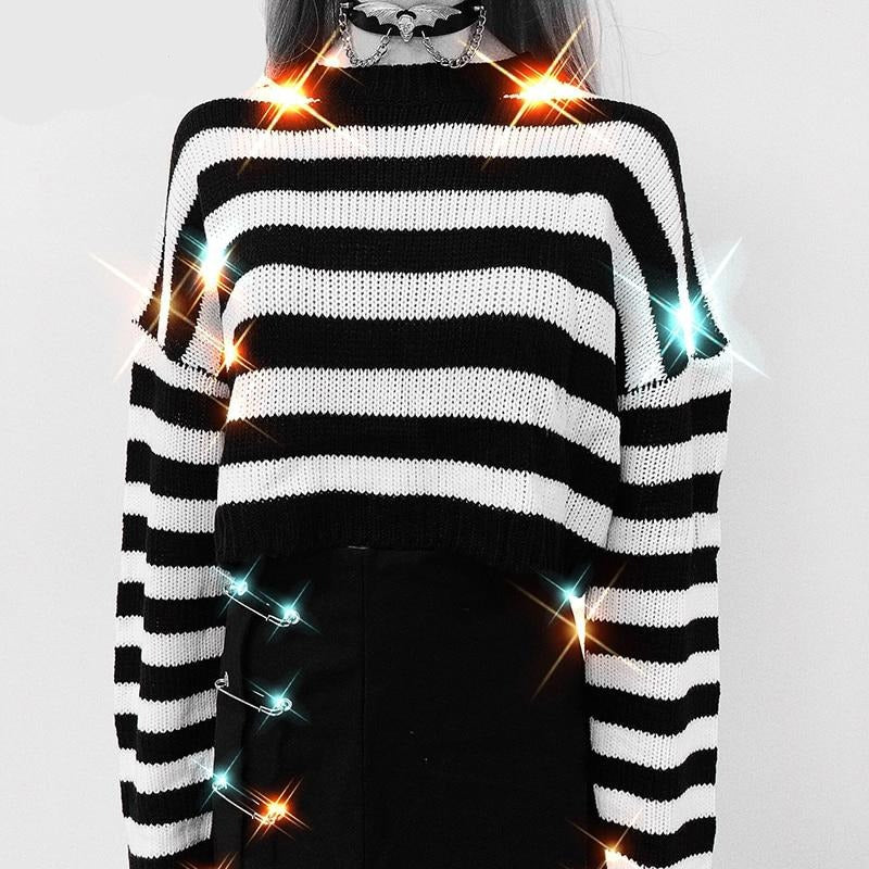 Black n White Stripe Cropped Sweater