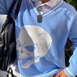 Blue Skull Print Sweater
