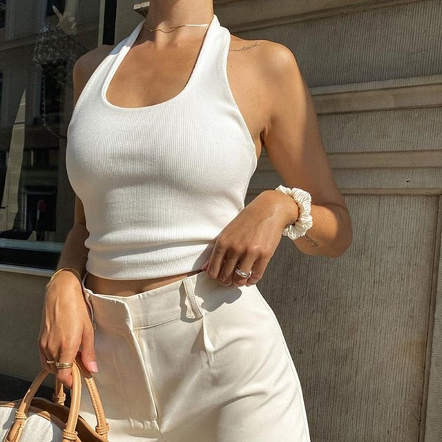 Ribbed Cropped Halter Top