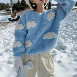 Sky Blue Cloud Knit Sweater