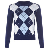 Blue Argyle Print Sweater