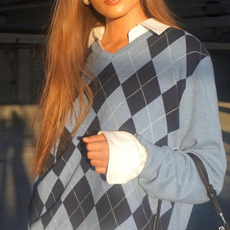 Argyle Blue Long Sleeve Jumper
