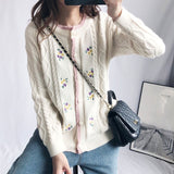 Embroidery Floral Cable Knitted Cardigan