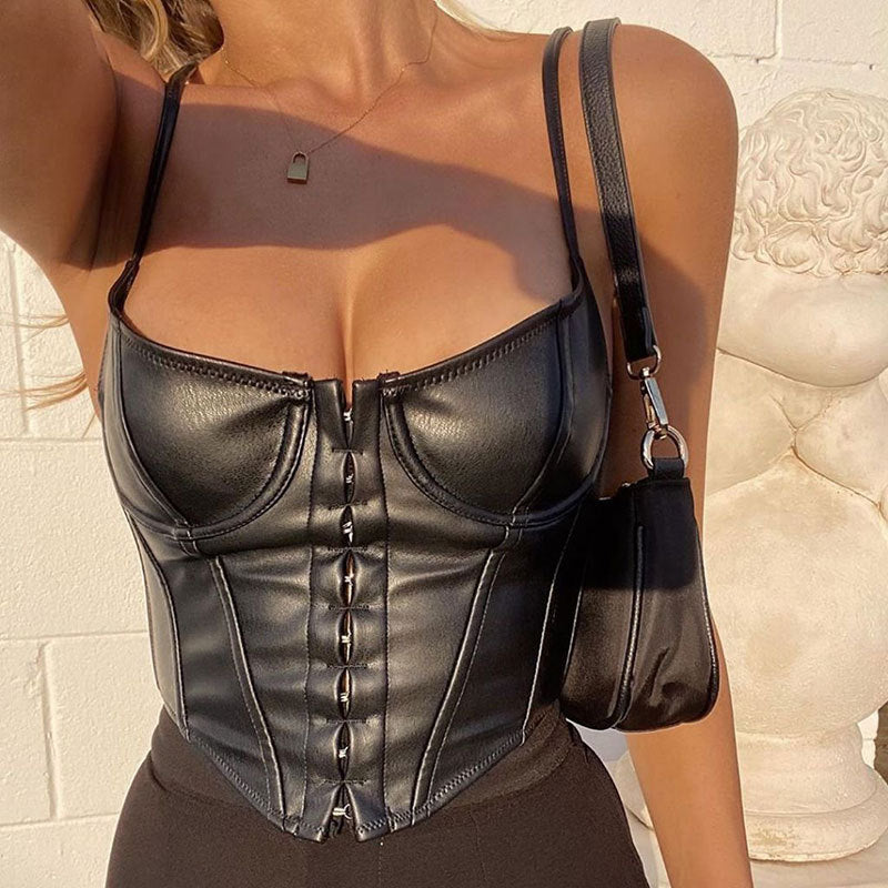 Black PU Leather Bustier Top