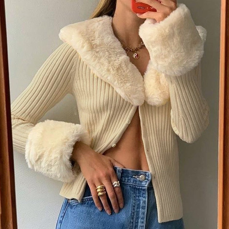 Removable Fur Collar Long Sleeve Cardigan