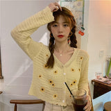 Sunflower Embroidery Cardigan