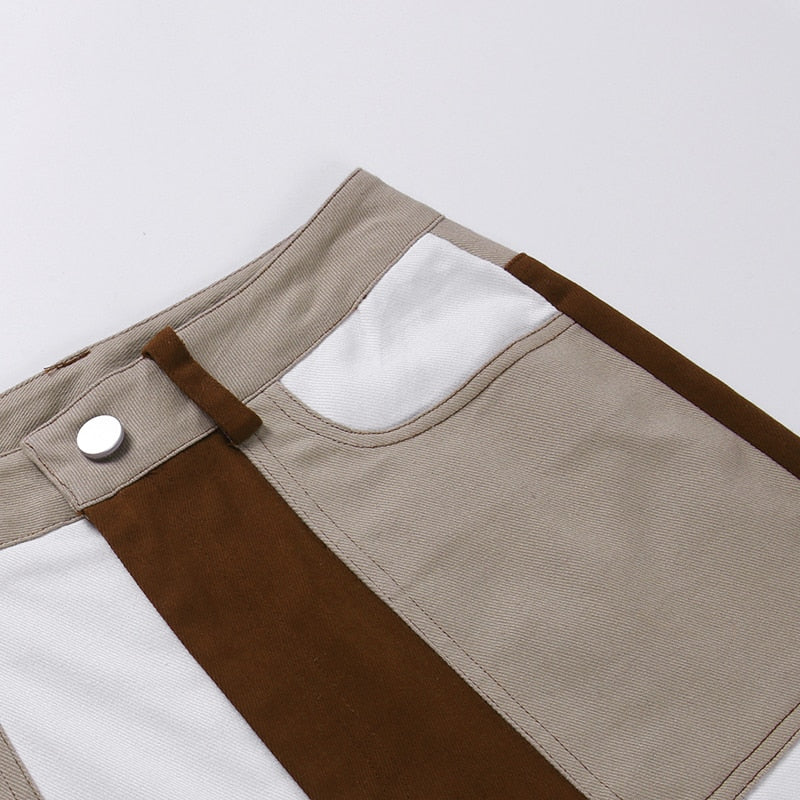 Multi-Brown Flared Jeans
