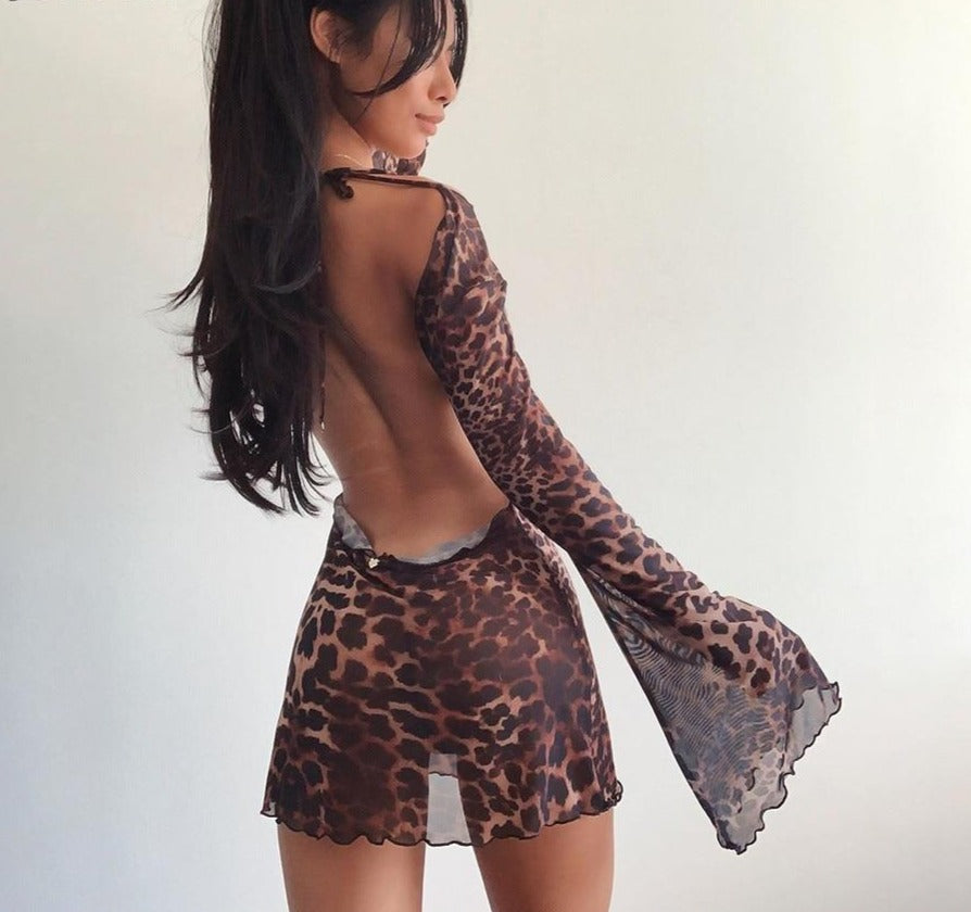 Mesh Leopard Backless Dress