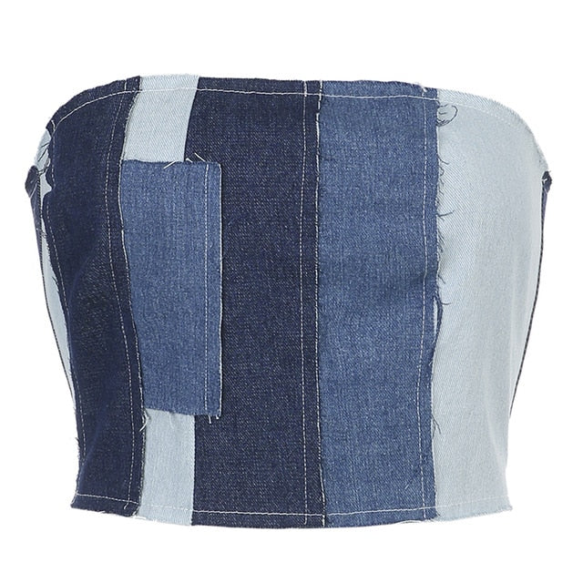 Denim Patch Work Tube Top