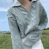 Collar Cable Knit Sweater