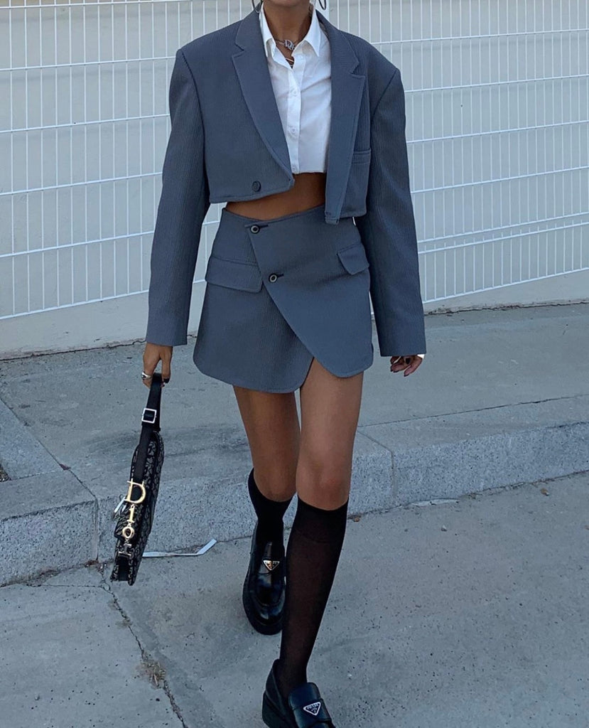 Cropped Buttoned Blazer And Skirt Set