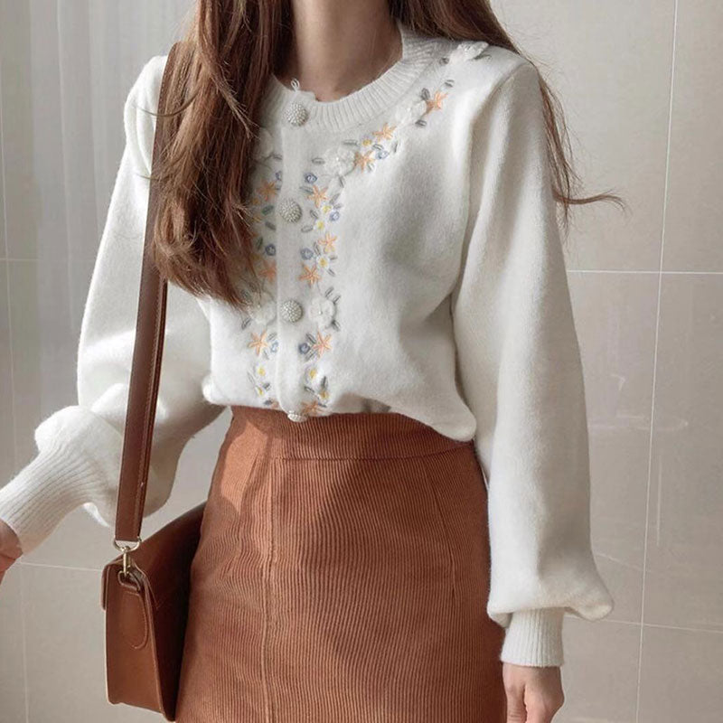 White Button Up Flower Embroidery Knitted Cardigan