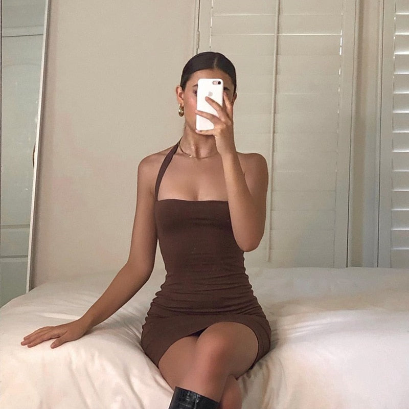 Brown Halter Bodycon Mini Dress