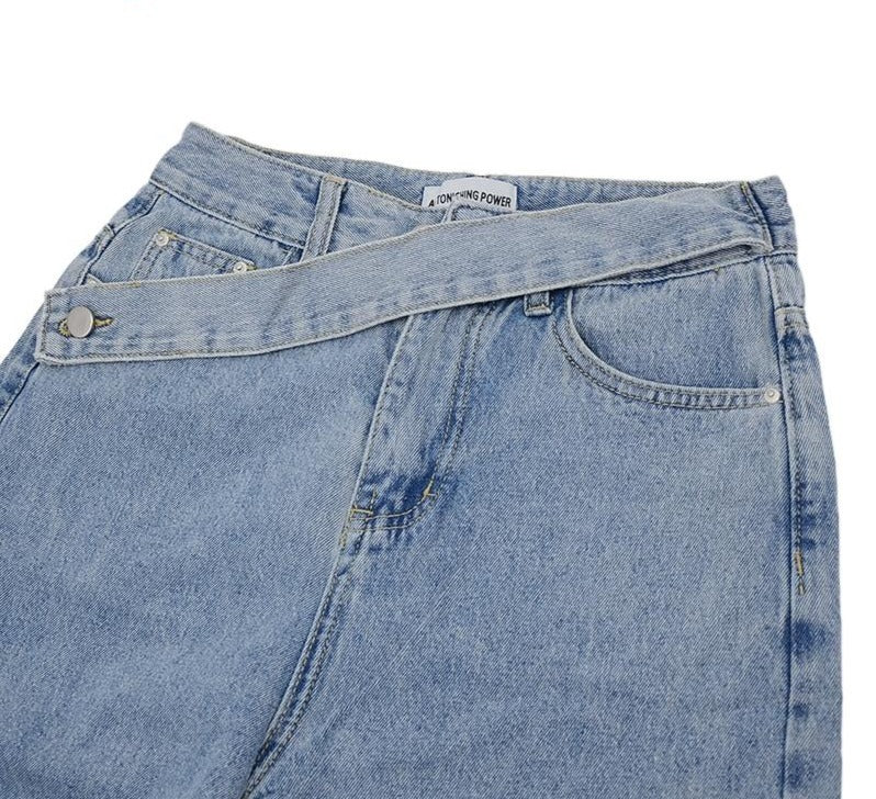 Straight Leg Denim With Double Button