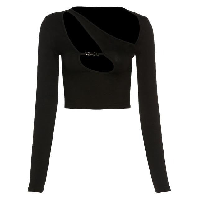 Black Front Cut Out Long Sleeve Top
