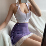 Purple A-line Lace Skirt
