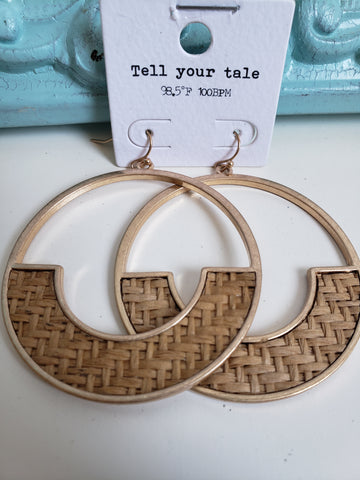 Medium Tan Woven Half Moon Hoop