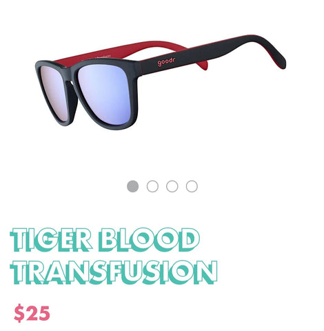 "Goodr Sunglasses ""Tiger Blood Transfusion """