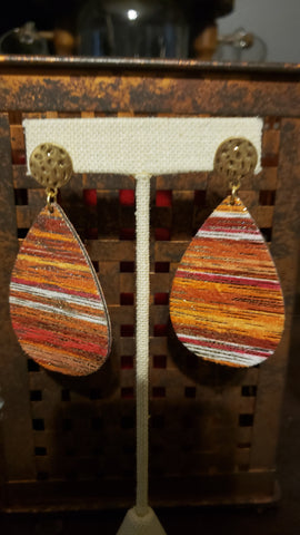 Coral striped Cork Teardrop