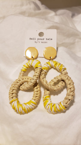 Sunny Yellow Ratton Earrings