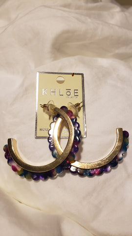 Multi Colored Bead Hoops