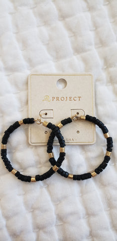 Black and gold beaded hoop earrings