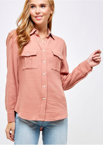 Gauze Button Down - Salmon